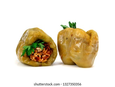 stuffed peppers with rice and mince, isolated on white background