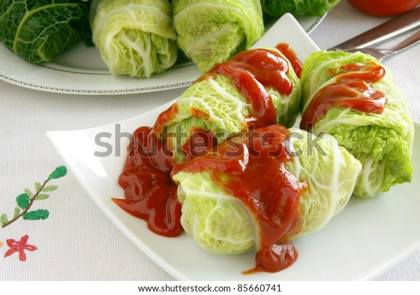 stuffed savoy cabbage leaf with rice and meat