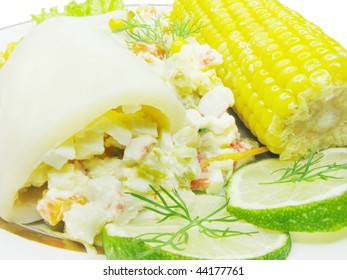 stuffed squid with corn and lime