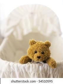 Stuffed Teddy bear in a Baby Bassinet