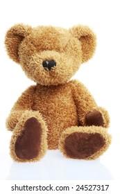 stuffed teddy bear isolated on white shot in studio
