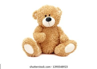 stuffed teddy bear sitting coffee - Shutterstock ID 1390548923