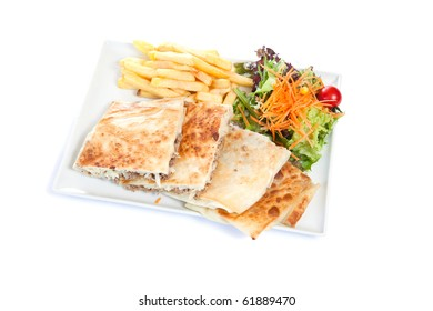 Stuffed tortilla  with fried chips and salad