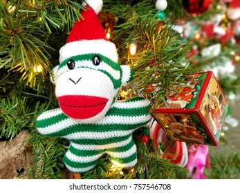 Stuffed toy ornament on a Christmas tree