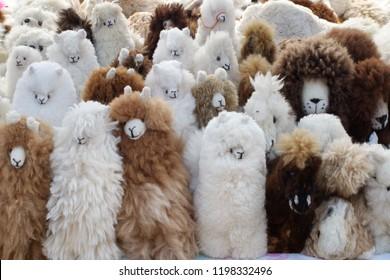 Stuffed toys made with llama fur in the Artisan's Market in Otavalo, Ecuador