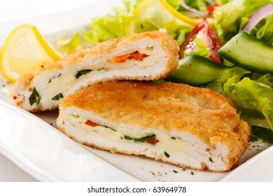Stuffed turkey fillet with cheese and vegetables
