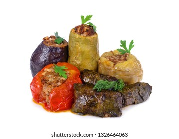 stuffed vegetables with rice and mince isolated on white background