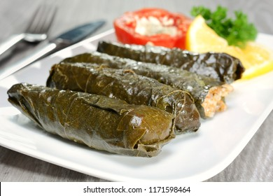 Stuffed vine leaves, called sarma, dolma or dolmades as finger food or snack