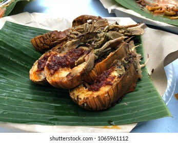 Stulang Laut, Johor - 8 April 2018 : Modern fishing restorant was served fresh seafood especially slipper lobster cooked sambal. very suitable to bring family members and good pricing.
