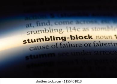 stumbling block word in a dictionary. stumbling block concept.