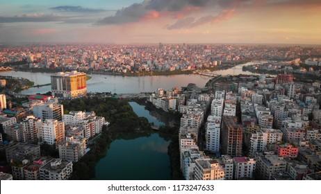 Stunning aerial drone view of Hatirjheel, Dhaka, Bangladesh during a beautiful sunset.