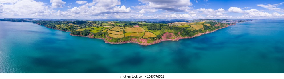Stunning aerial panoramic shot of South Devon coastline