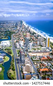 Stunning aerial shot of the city of Gold Coast, Queensland, Australia, taken on a sunny day, surfers paradise