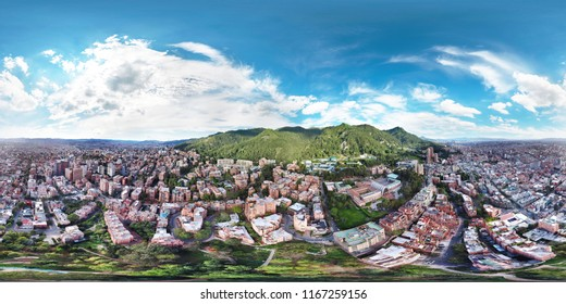 Stunning 360° Aerial View above the Capital City of Bogota, Colombia - Equirectangular Panorama