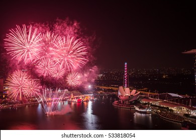 Stunning aerial view of Chinese New Year fireworks in Singapore.