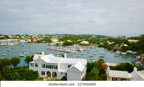 Stunning aerial view of Hamilton, Bermuda and Harbor