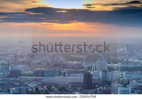Stunning aerial view of London sunset skyline.