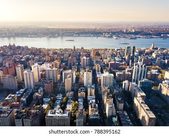 Stunning aerial view of Manhattan and New York at sunset