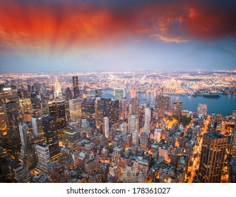 Stunning aerial view of Midtown Manhattan - New York.