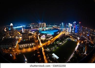 Stunning aerial view of Singapore skyline