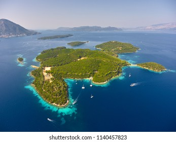 Stunning aerial view of Skorpios island, Skorpidi island and Sparti Lefkados island with Lefkada island in distance, on Ionian sea in Greece. Drone photograpy.