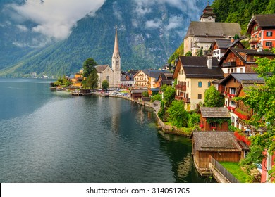Stunning alpine village with majestic lake on cloudy day,Hallstatt,Salzkammergut,Austria,Europe