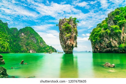 Stunning amazed nature scenic landscape James Bond island Phang-Nga bay, Famous fantastic landmark travel Phuket Thailand Tourism beautiful destination popular place Asia, Summer holiday vacation trip