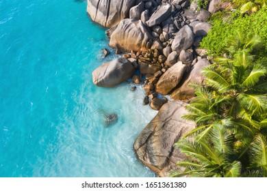 Stunning Anse Lazio beach drone aerial view in Praslin Island Seychelles Turquoise ocean water