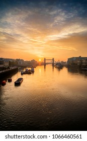 Stunning Autumn sunrise over Tower Bridge and River Thames in London