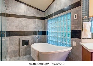 Stunning bathroom boasts a white freestanding tub lined with gray marble tiled surround accented with glass block wall.