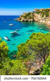 Stunning bay with boats seascape on Majorca island, Spain Mediterranean Sea, Balearic Islands.