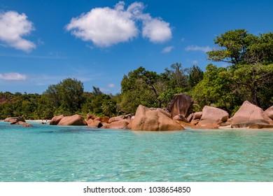 The stunning beach Anse Lazio on Praslin in the Seychelles