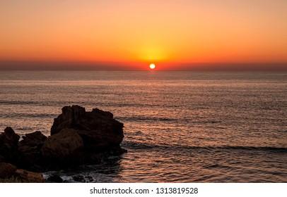 Stunning Beach Sunset Over Agadir Ocean Morocco