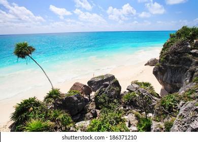 The stunning beach at Tulum, near Cancun, Mayan Riviera, Mexico