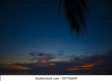 Stunning beautiful sunset in the Gulf of Thailand. Dark sky painted with bright colors.