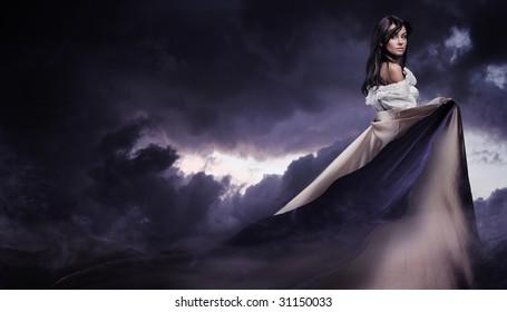 Stunning beauty over a dark cloudy sky