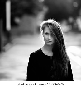 Stunning black and white portrait of a young woman