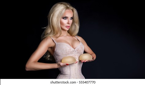 Big blonde breasted breast implants