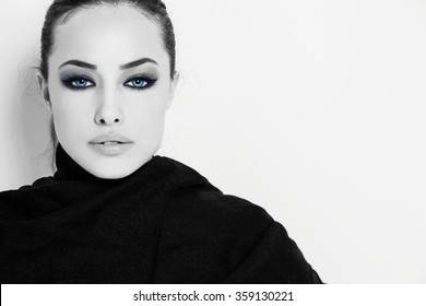 stunning blue eyes beauty portrait, studio, black and white
