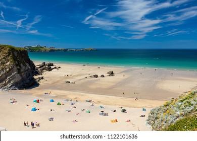 Stunning blue sky above Lusty Glaze Beach Newquay Cornwall England UK Europe