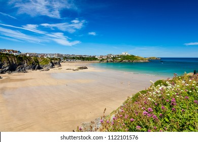 Stunning blue sky overlooking Great Western Beach Newquay Cornwall England UK Europe