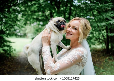 Stunning bride plays with a nice dog in the park