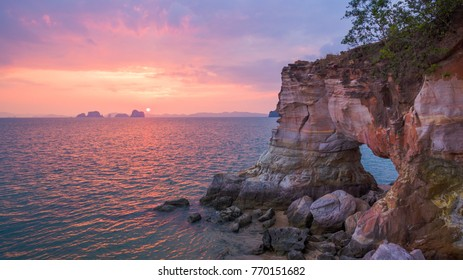 stunning Buffalo Nose cape in sunset. amazing to see the cape have a big hole inside. the stone have colorful. on top of the cape have small place for selfie.