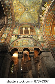 Stunning byzantine mosaics over the transept of the UNESCO listed basilica of Saint Vitalis in Ravenna, Italy