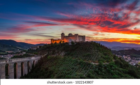 Stunning castle in Spoleto at sunset, Italy, Umbria
