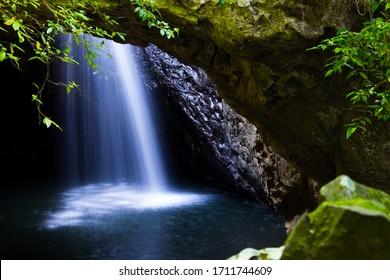 Stunning Cave Waterfall at Natural Bridge in Springbrook National Park