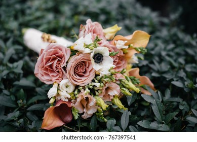 Stunning, chic wedding bouquet with bright and beautiful colors. Wedding. Flowers.