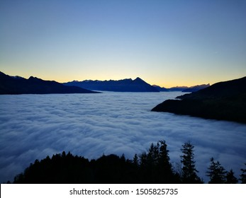 Stunning cloudscape at Harder Kulm over Interlaken, Switzerland. Able ro see the beautiful alps from this viewpoint.