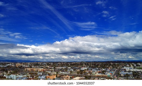 Stunning cloudscape and unique aerial perspective over Oceanside California in north county San Diego