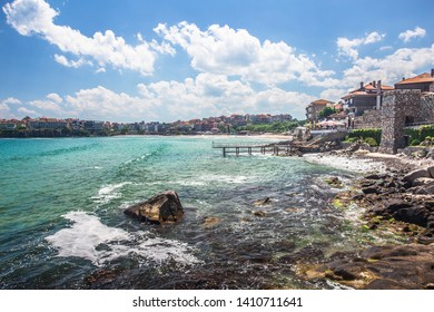 Stunning Coastal landscape banner, panorama - embankment with fortress wall in the city of Sozopol on the Black Sea coast in Bulgaria,Sozopol Bulgaria,May 29 2019